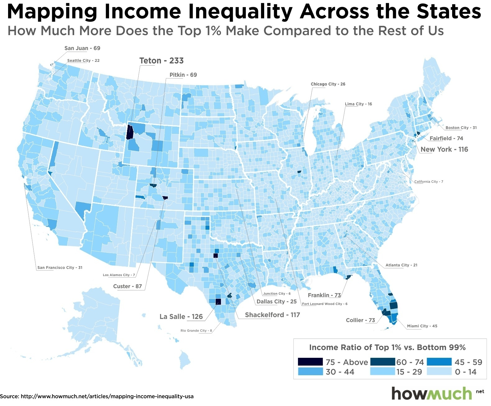 How Much More Does The Top Make By US County - Wealthiest counties in usa