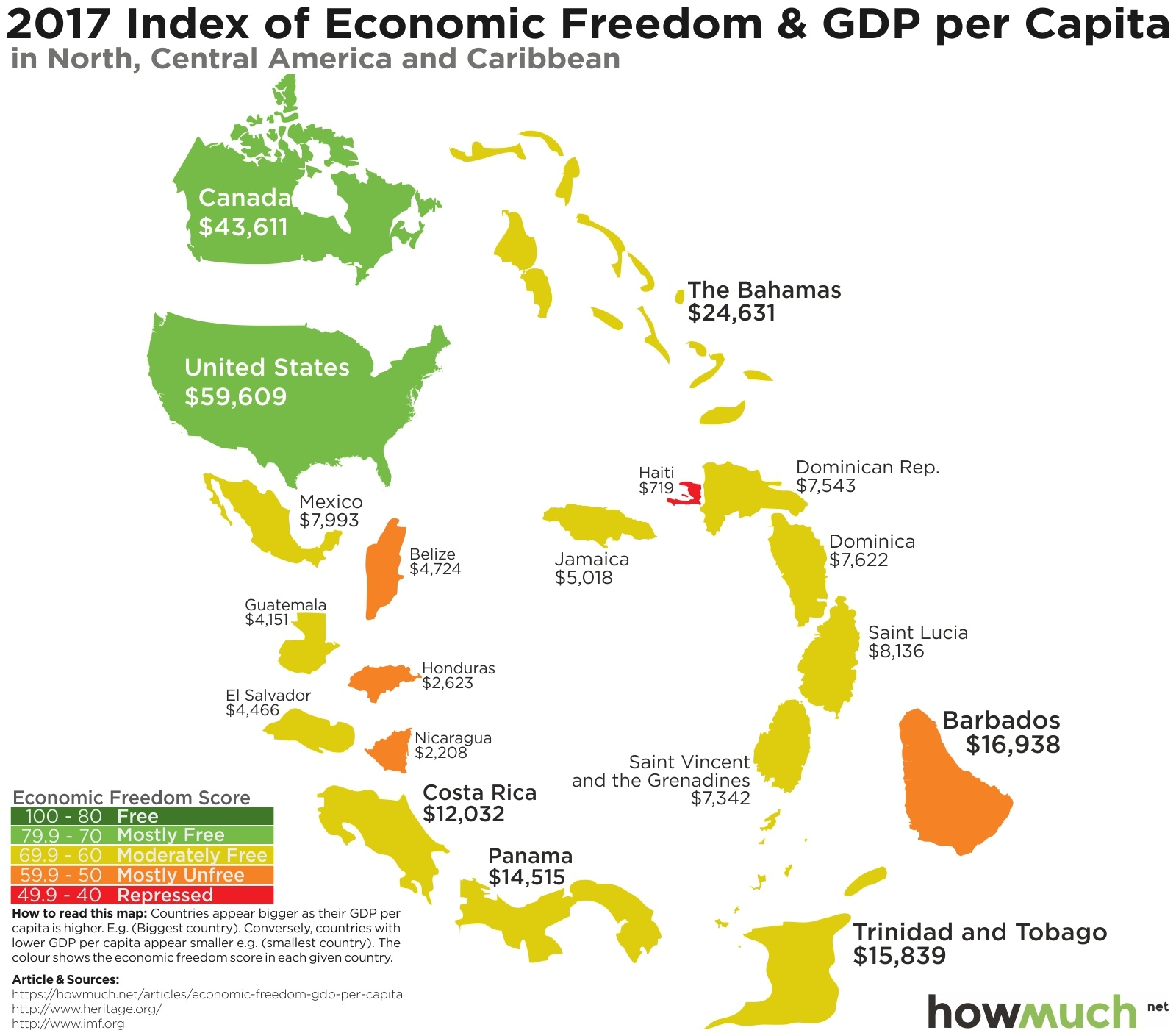 These maps show how economic freedom around the world enriches first off the united states is obviously the richest country in north america with a gdp per capita of 59609 followed by canada 43611 gumiabroncs Choice Image