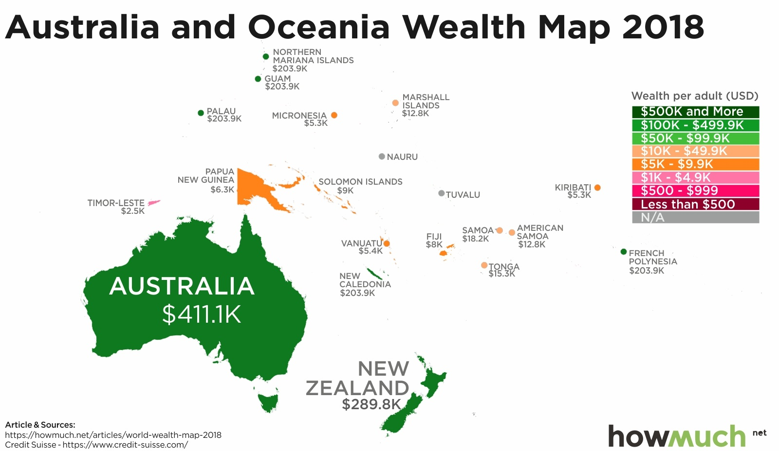 wealth map in Oceania