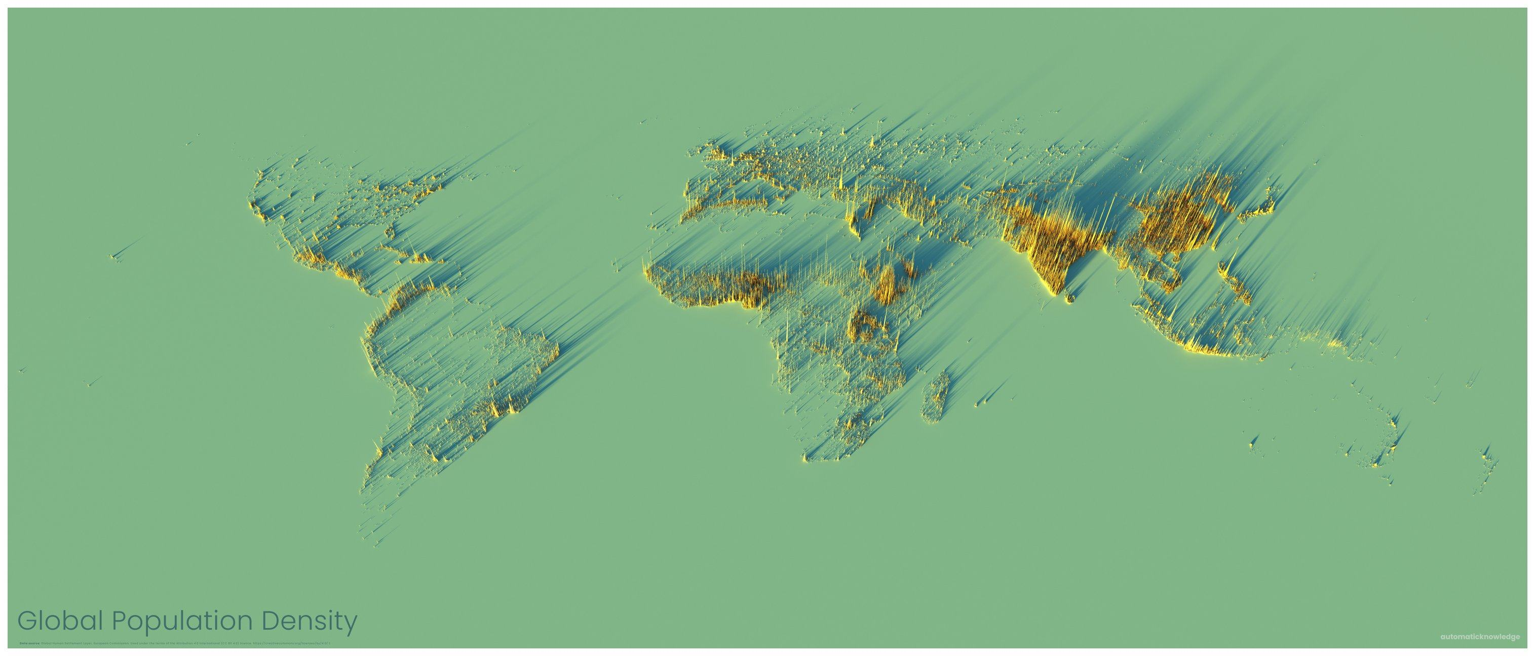 A Look at World Population Density in 3D