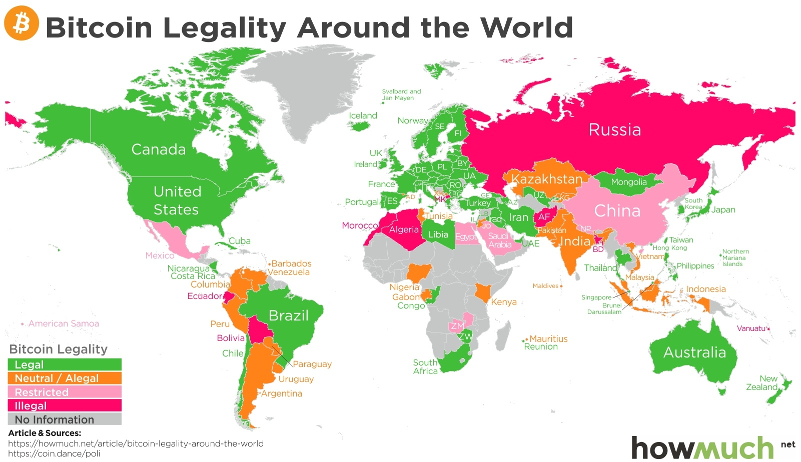 Bitcoins legality around the world map valuewalk in our visual we wanted to highlight the globe and where each country stands on bitcoin using a color legend we created a range of bitcoin legality that gumiabroncs Images
