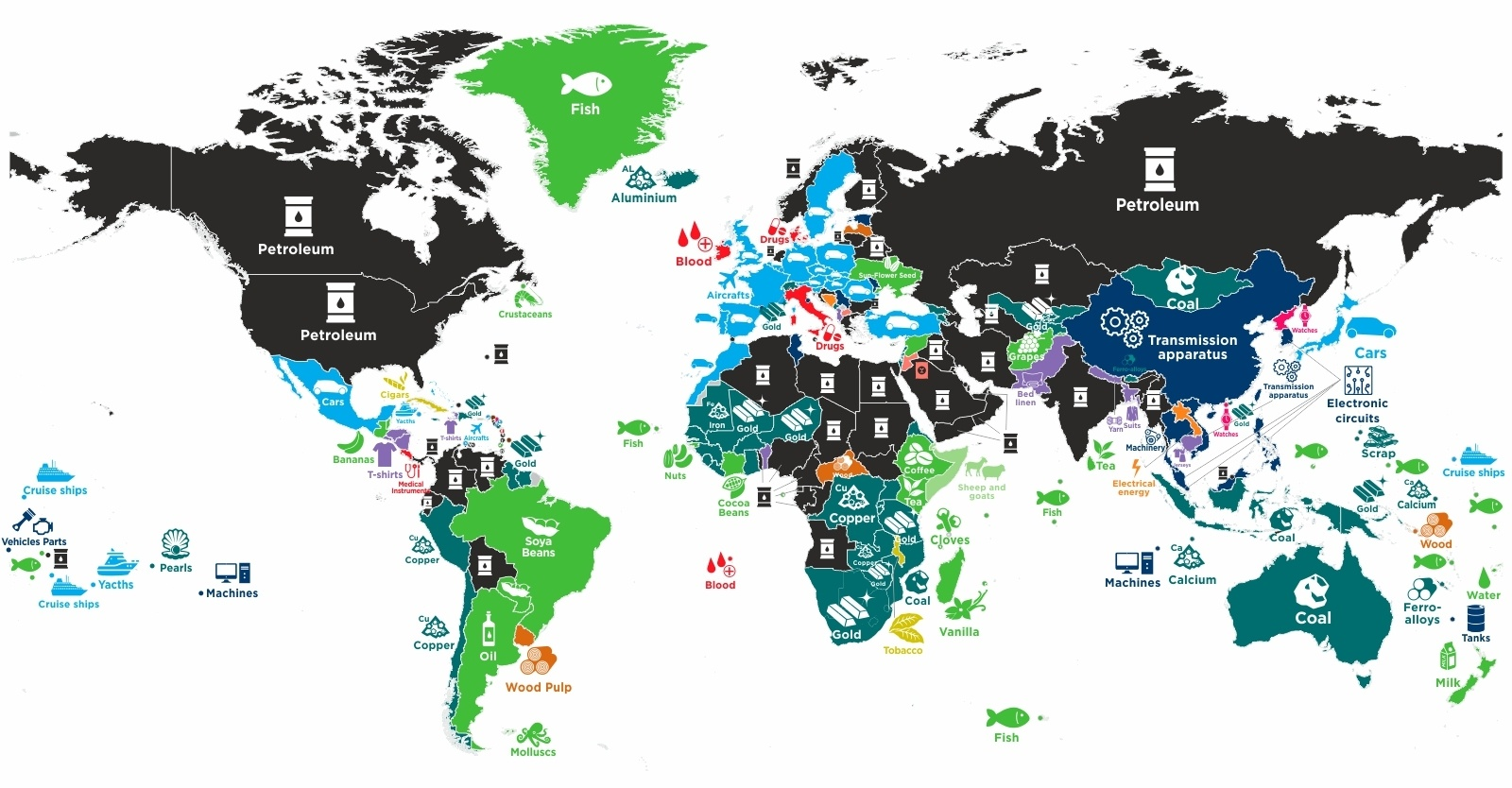 These Maps Show Every Country's Most Valuable Export