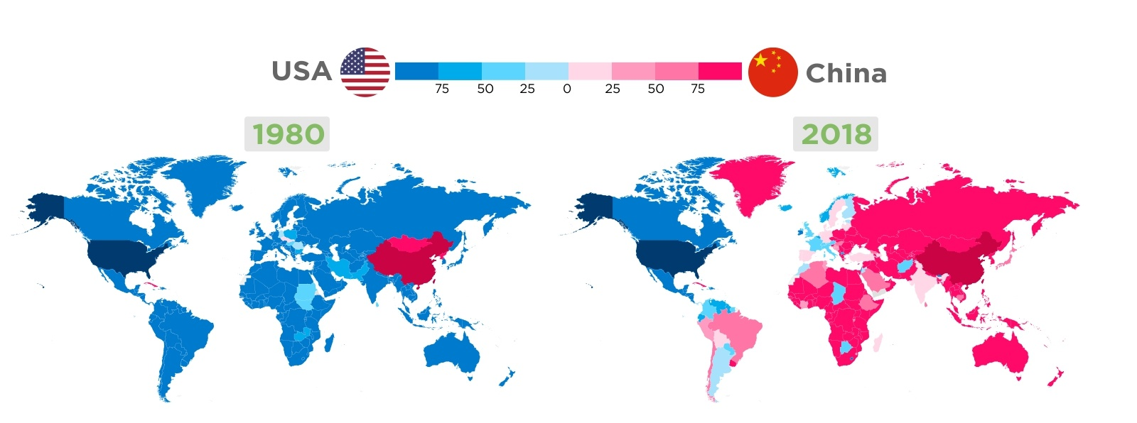 Mapping The World's Trade Domination: USA & China's Clout Since 1980