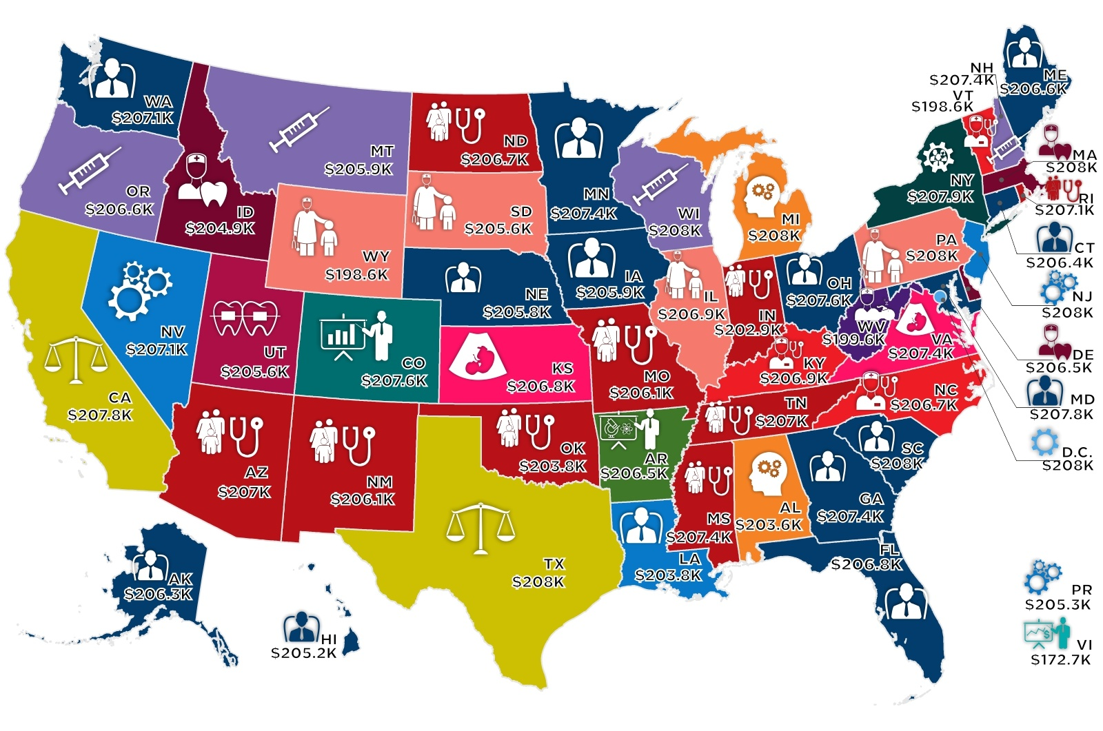 Mapping the Highest Paid Professions in Each State