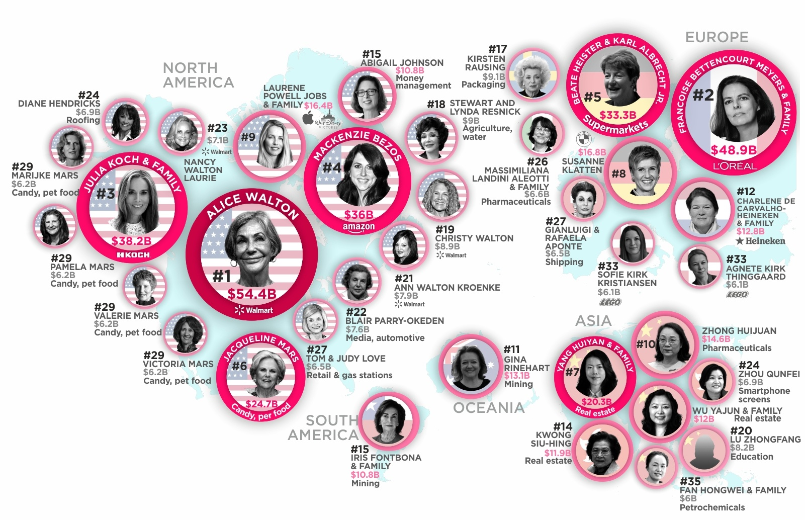 Mapped: The Richest Women in the World