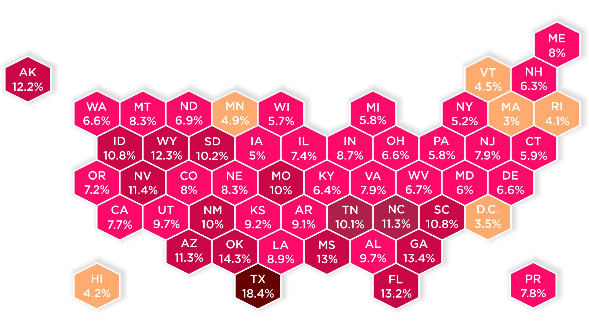 Mapped: Uninsured Rates by State