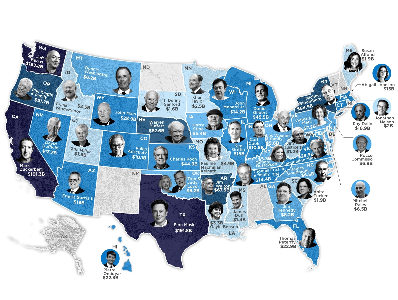 Mapped: The Wealthiest Billionaires Around the U.S.