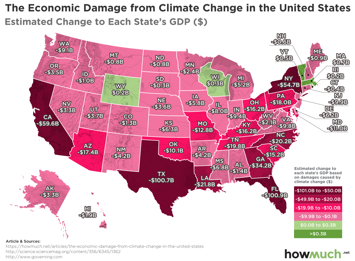 Climate Map Of Florida.The Impact Of Climate Change By State Fl Beats Out Both Tx And Ca