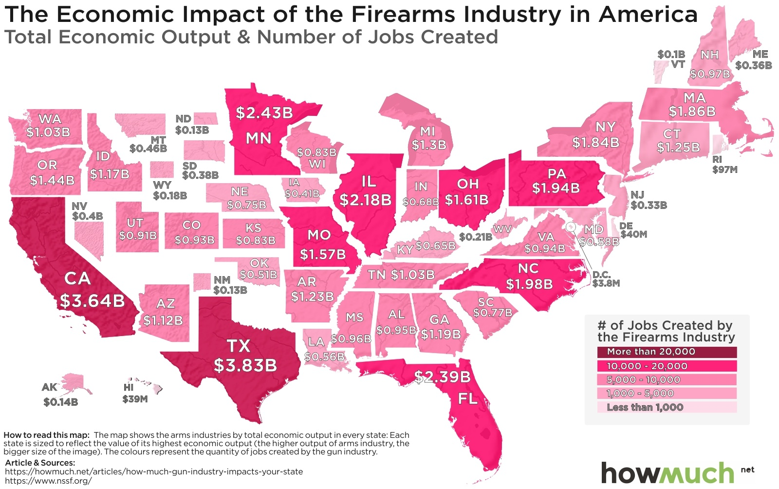 Gun Friendly States Map The Gun Industry's Economic Impact in One Map