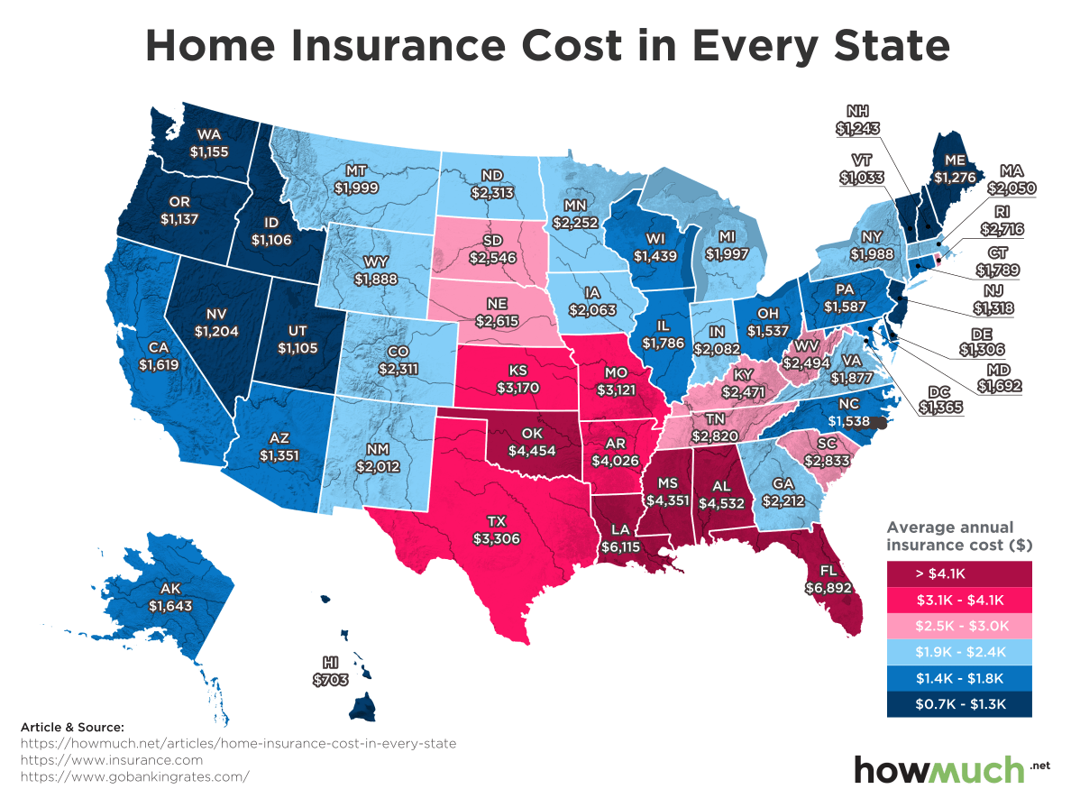 Most & Least Expensive States in the Country for Home Insurance Map Of Any State on topography of states, unification of states, blank map states, region of states, painting of states, 4 corners states, midwest region states, chart of states, death penalty states, products of states, poster of states, globe of states, mississippi river states, atlas of states, latin america states, coat of arms of states, new jersey states, latitude of states, mid west states,