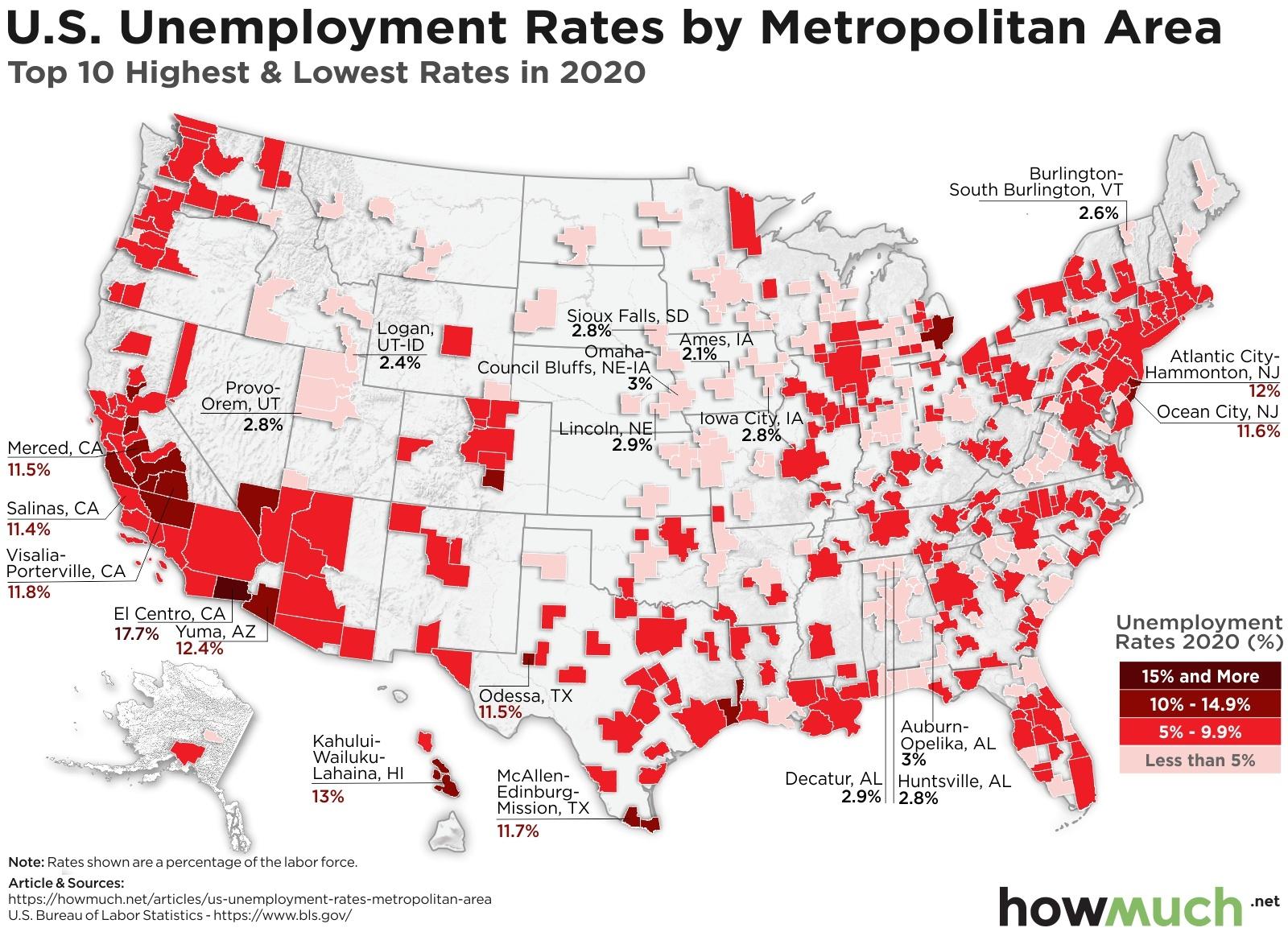 Unemployment rates by metropolitan area