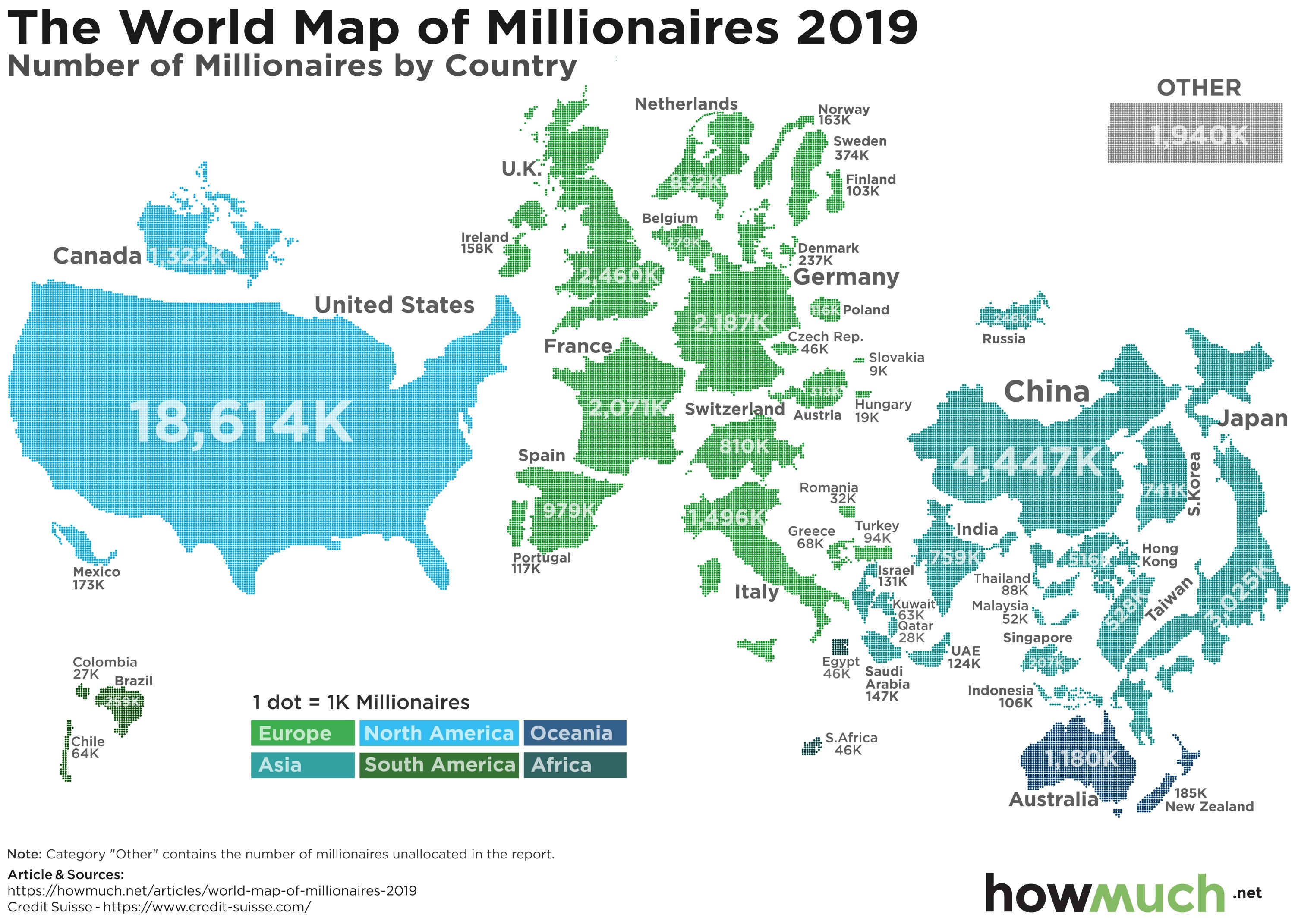 Mapping the Potion of Global Millionaires in 2019 on map of ohio, map of denmark, map of italy, map of belgium, map of new zealand, map of hong kong, map of africa, map of germany, map of usa, map of florida, map of france, map of south america, map of china, map of dubai, map of georgia, map of the united states, map of philippines, map of vietnam, map of europe, map of country, map of western hemisphere, map of us, map of britain, map of finland, map of taiwan, map of austria, map of mexico, map of california, map of indonesia, map of texas, map of canada, map of new york, map of malaysia, map of norway, map of north carolina, map of uk, map of countries, map of iraq, map of thailand,