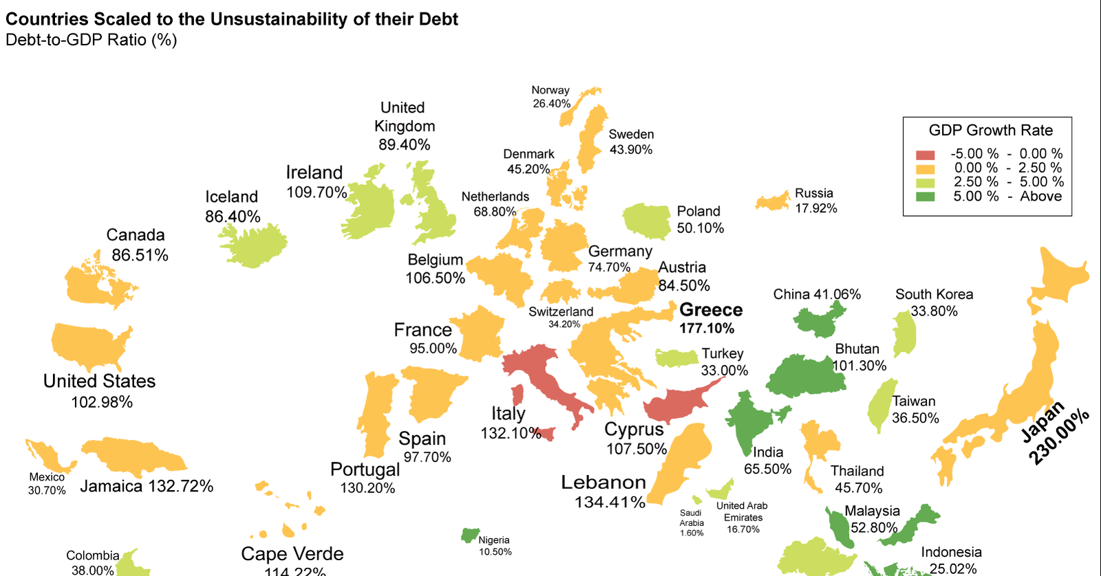 What Country Has The Most Unsustainable Debt Hint Not Greece - Us gdp map
