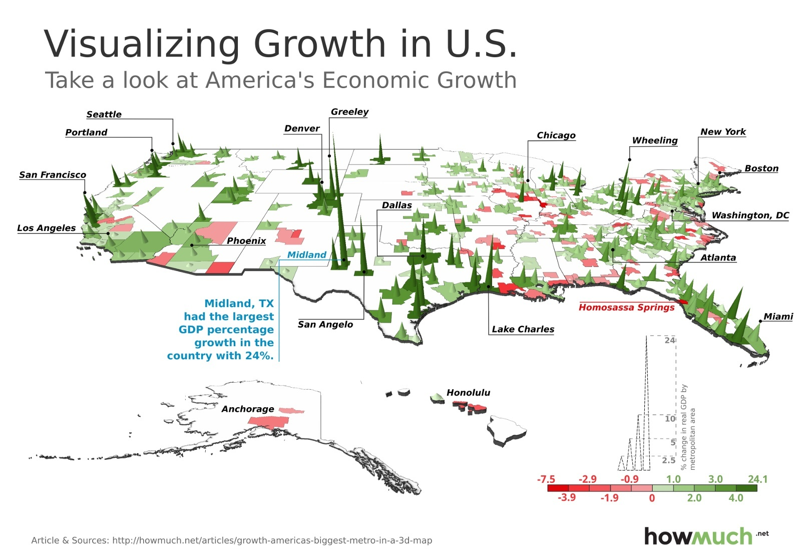 Visualizing the us growing and shrinking economies in a 3d map metropolitan areas with overall highest growth freerunsca Image collections