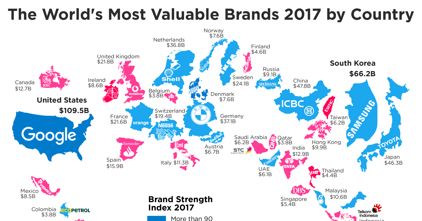 This Map Reveals The Top 2017 Brands For Each Country