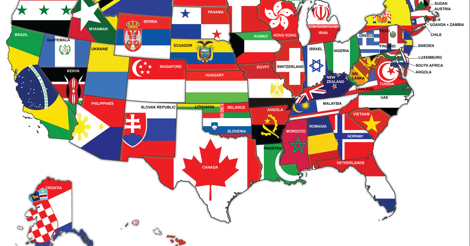 Map of the US redrawn as if the states were countries with the same  #C1AF0A