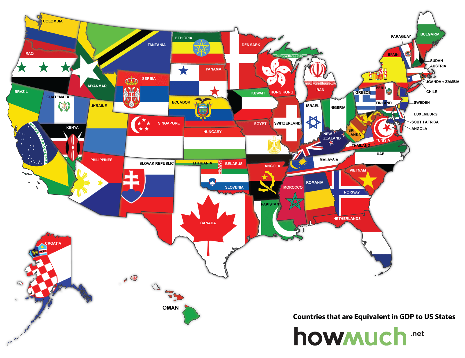 Map Of The US Redrawn As If The States Were Countries With The - Us economy map