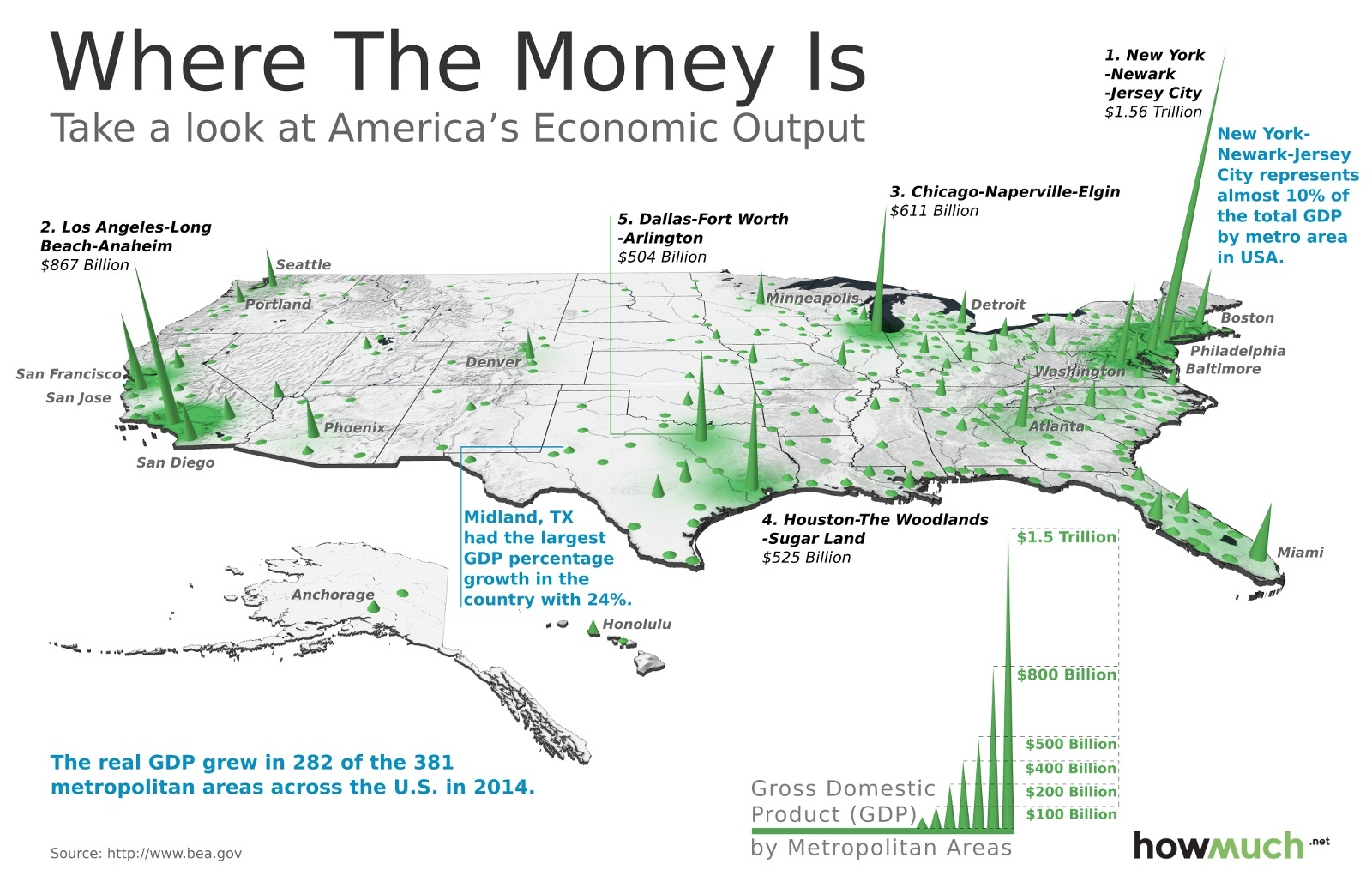 This D Map Visualizes The US Economy In A New Way - Us economy map