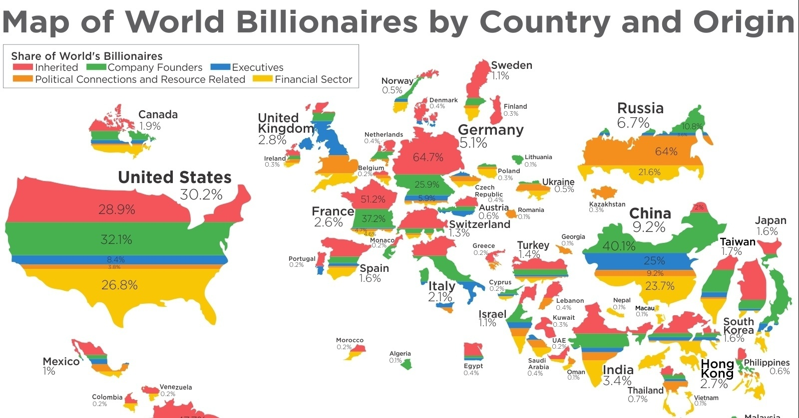 This Map Shows Where The World S Billionaires Got Their Money