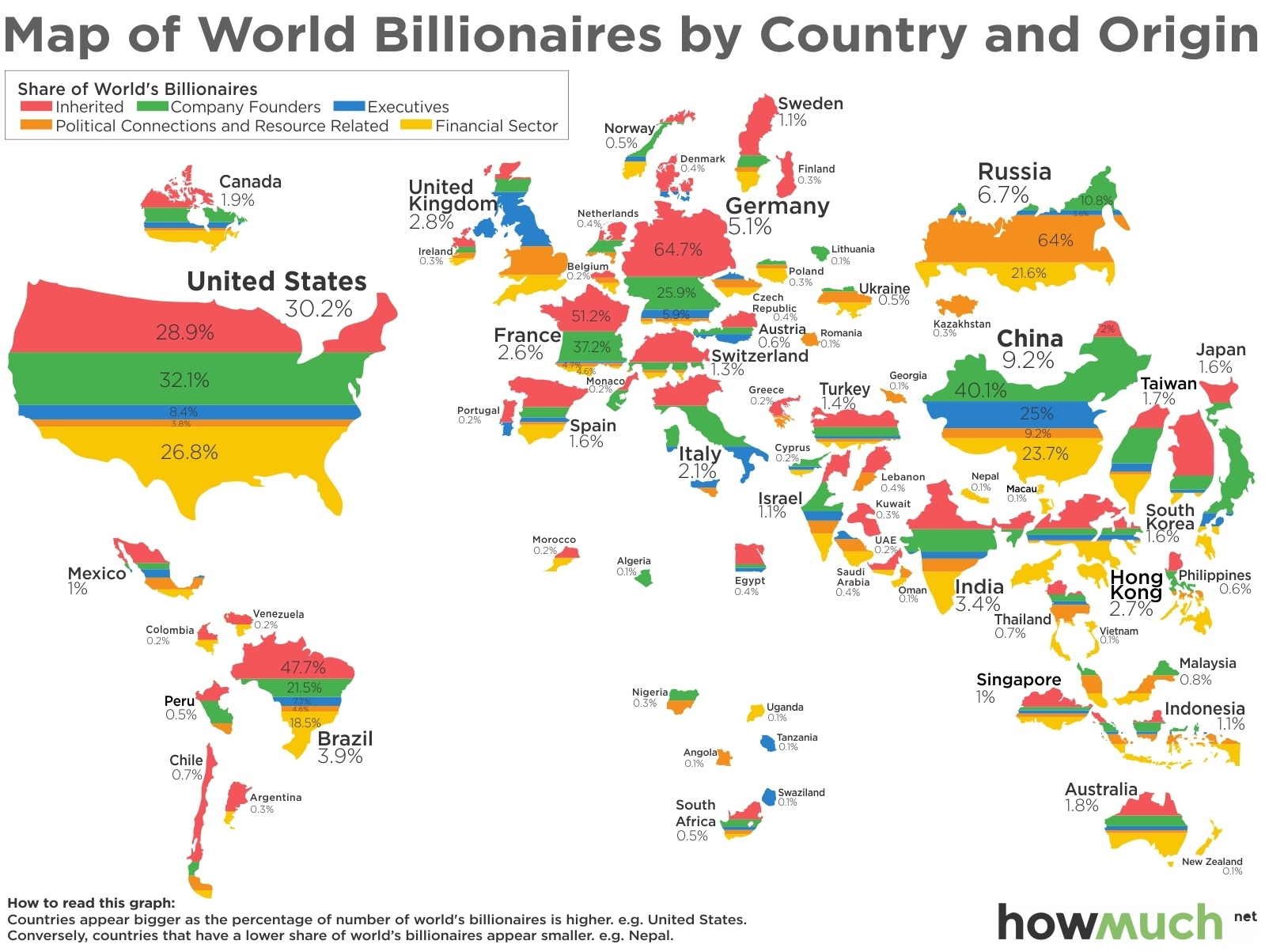 This Map Shows Where The Worlds Billionaires Got Their Money - Worldmap