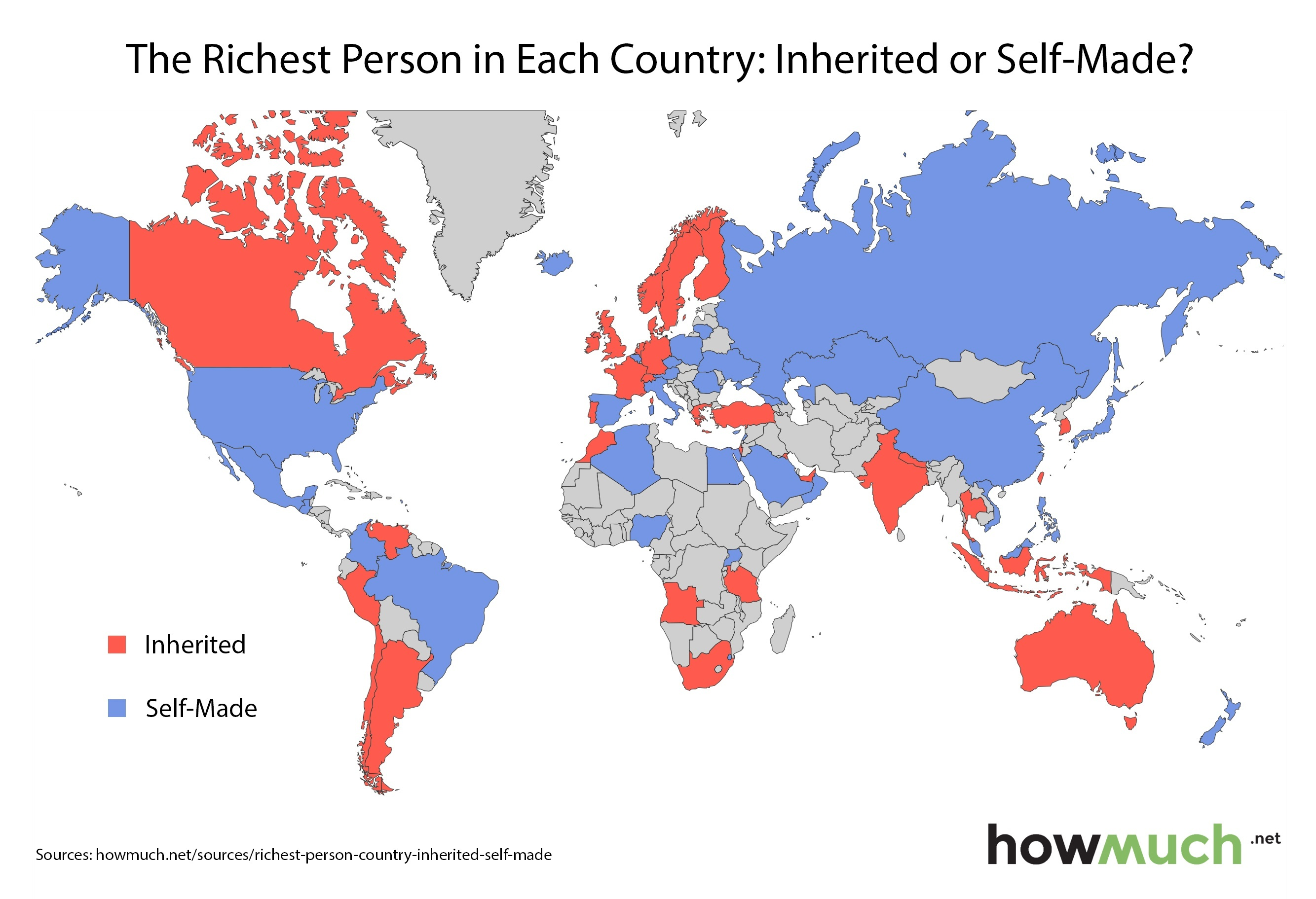 are today s billionaires born or self made this map shows you the answer