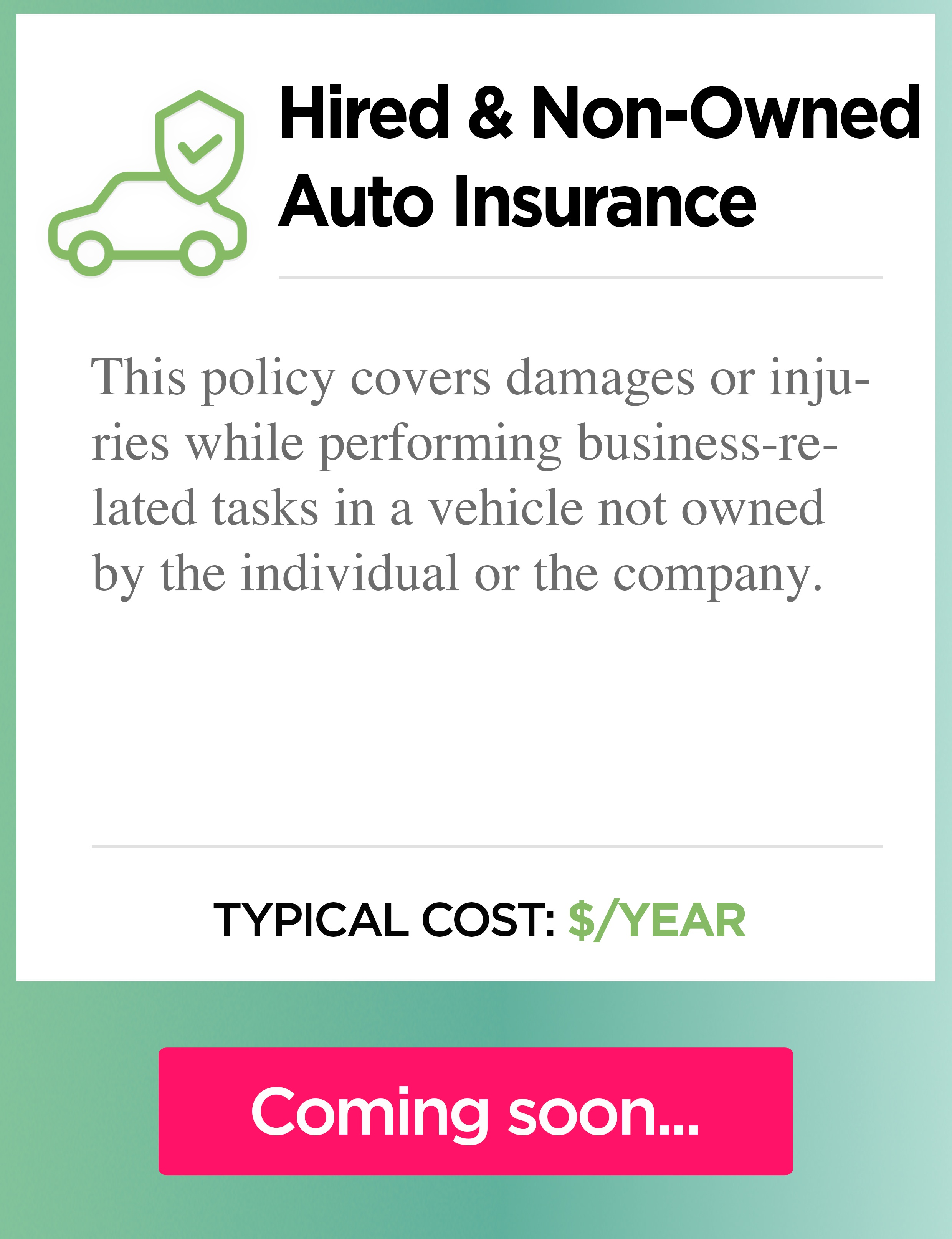 Hired auto insurance cost